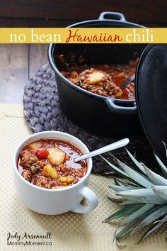 This no bean Hawaiian chili boasts the perfect combination of sweet and spicy flavor and is a great option for people looking for no bean chili recipes.