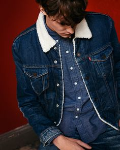 Double denim and down. Get cozy this holiday season with a sherpa-lined Trucker Jacket. Use it to top off your favorite jeans and  Western Shirt.