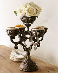 Display fruit, nuts, and other small treats in this handcrafted epergne