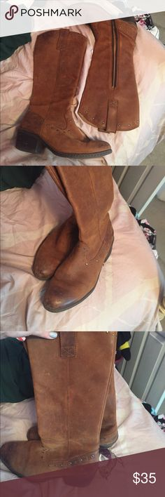 B.o.c born knee high boots Brown distressed leather with small stud detail by born boots with zip side worn a few times in great condition b.o.c. Shoes Over the Knee Boots