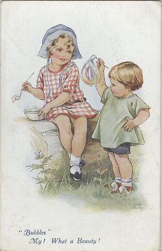illustrations enfants - Page 8 Vintage Pictures, Vintage Images, Vintage Cards, Vintage Postcards, Milly And Molly, Children Images, Children's Book Illustration, Vintage Love, Vintage Children
