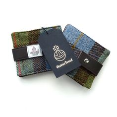 Harris Tweed tartan wallet with leather trim, gift for men £25.00