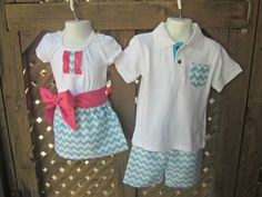12- 18 mo. Teal Chevron Toddler Girls Skirt, Shirt & Sash Outfit via Etsy- see shop for other sizes and boy outfit