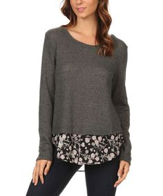 Another great find on #zulily! Olive Floral Layered Top #zulilyfinds