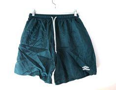 Vintage Umbro shorts soccer forest green nylon by 216vintageModern
