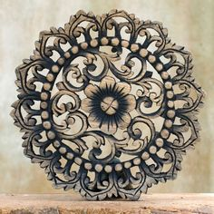 Decorative Wall Relief Panel Sculpture. Teak Wood Wall Hanging. Hand Carved Wall Art Decor from Thailand.  (30x30 cm. Black wash)