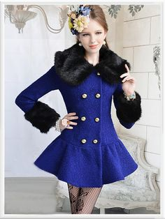 Morpheus Boutique  - Navy Black Hair Collar Long sleeve Double Breasted Pleated Lady Overcoat, $179.99 (http://www.morpheusboutique.com/navy-black-hair-collar-long-sleevedouble-breasted-lady-overcoat/)