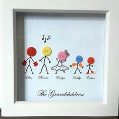 Stick Families with a twist Stick People Family Button Frame Box Frame Art, Box Frames, Button Family, Stick Family, Wedding Cards Handmade, Button Cards, Art Drawings For Kids, Diy Buttons, Diy Gifts