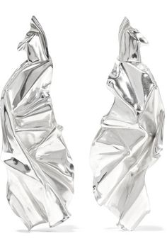 Wwake | Closer by Wwake Veil sterling silver earrings | NET-A-PORTER.COM
