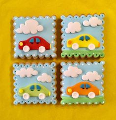 Car Cookies - cookie by sansil (Silviya Mihailova) Car Cookies, Fondant Cookies, Fondant Cake Toppers, Cupcake Cookies, Race Car Birthday, Baby Birthday Cakes, Cars Birthday Parties, Cars Cake Pops, Iced Biscuits