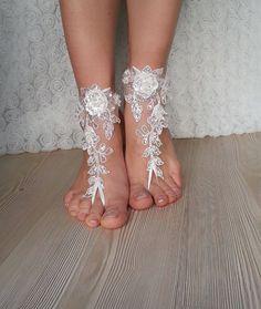 ivory Beach wedding barefoot sandals by BarefootShop on Etsy