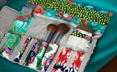Makeup roll with options. Looks useful for craft supplies too!