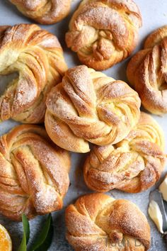 Meyer lemon morning buns are a breakfast dream! Reminiscent of both a sweet roll and a flaky pastry, these golden twists are delicious! Brunch Recipes, Gourmet Recipes, Sweet Recipes, Baking Recipes, Breakfast Recipes, Dessert Recipes, Breakfast Ideas, Morning Bun, Morning Coffee
