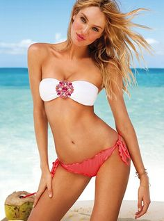 Sex Swimsuit 2013 Jewelled Top Frill TS Bottom Bikini Pink