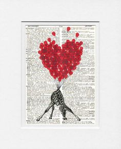"This ""LOVE Carries All Even a Giraffe"" artwork, printed on a repurposed dictionary page, is adorable and original."