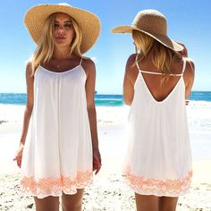 Sexy Women Backless Short Summer BOHO Evening Party Beach Mini Dress Sundress