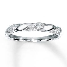 Want for wedding band! Diamond Anniversary Ring 1/20 ct tw Round-cut 10K White Gold