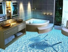 3D bathroom floor. I love this idea and how it helps you feel like u are in your favorite places