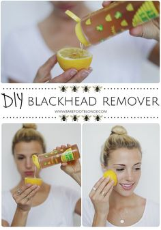 Get rid of blackheads using honey, lemon, and sugar and rubbing on problem areas. Eliminate blackheads with honey, lemon and sugar and rub the problem areas. Beauty Care, Diy Beauty, Beauty Hacks, Face Beauty, Barefoot Blonde, Get Rid Of Blackheads, Pimples, Clear Blackheads, Tips Belleza