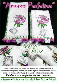 """Kitchen cloth and hand towel - """"Perfect Love"""" (100% cotton) with crochet beak (100% cotton thread)"""
