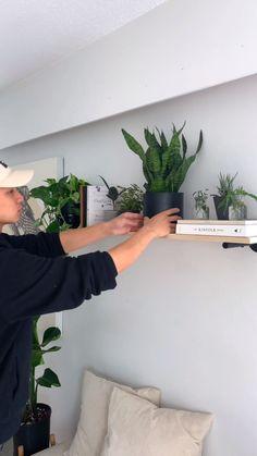Room Ideas Bedroom, Diy Room Decor, Living Room Decor, Bedroom Decor, Indoor Plant Shelves, Plants Indoor, Shelves With Plants, Indoor Herbs, Hanging Plants