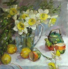 "Daily Paintworks - ""Daffodils at Tea"" - Original Fine Art for Sale - © Barbara Schilling Art Floral, Garden Painting, Still Life Art, Fine Art Gallery, Daffodils, Picasso, Art Tutorials, Painting Inspiration, Flower Art"