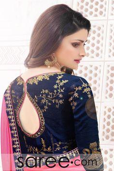 Prachi Desai Light Pink Silk Saree with Zari Embroidery Work Blouse Back Neck Designs, Fancy Blouse Designs, Sari Blouse Designs, Blouse Styles, Designer Blouse Patterns, Saree Blouse Patterns, Prachi Desai, Blouse Models, Beautiful Blouses