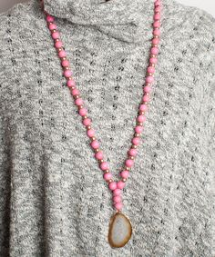 Tweeds and Beads Necklace - Meadow with Taupe Stone