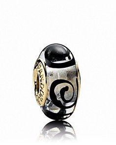 Gold Black Spirals Murano By Pandora Glass Charm 750511 Pandora Gold, New Pandora, Pandora Bracelet Charms, Pandora Jewelry, Pandora Beads, Charm Bracelets, Pandora Accessories, Jewellery Uk, Jewelry 2014