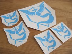 5 vinyl stickers / decal pack, 3 different sizes, Pokemon Team Mystic - Blue - Articuno by planetXUAN on Etsy https://www.etsy.com/listing/467910715/5-vinyl-stickers-decal-pack-3-different