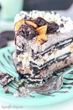"""This is the """"marry me cake"""". An almost no-bake Slutty Brookie No-Bake Icebox Cake is 3 layers of homemade mousse. First the Chunky brownie batter mousse, then chocolate chip cookie mousse and finally the Oreo mousse. Chunks of brownie, Oreos and Chocolate chip cookies are all mixed into this brookie cake!"""