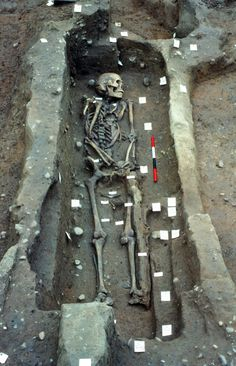 A Viking warrior unearthed at the site in Repton where the Great Army camped over the winter of 873–874 was found to have received severe injuries to the head and left thigh.