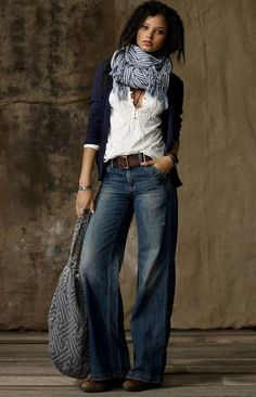 fall style - wide leg denim jeans - brown leather belt - white pintuck blouse - navy blue cardigan - gingham print scarf: