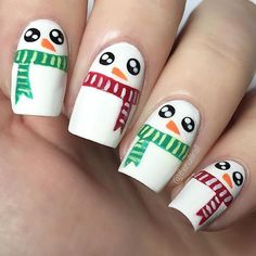 Snowman Nail Art! So cute and perfect for winter!