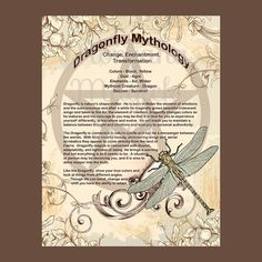 DRAGONFLY MYTHOLOGY, Digital Download,  Book of Shadows Page, Grimoire, Scrapbook, White Magick, Wiccan, Witchcraft,