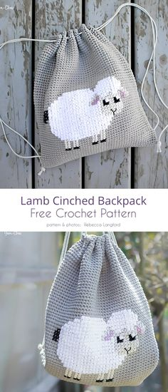 Sweet Crochet Lamb Idea Free Patterns Lamm Cinched Rucksack No related posts. Beau Crochet, Crochet Mignon, Cute Crochet, Crochet For Kids, Beautiful Crochet, Crochet Crafts, Crochet Yarn, Crochet Projects, Crochet Blanket Patterns