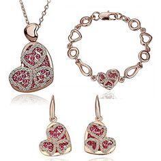 HSG herzfoermigen Kristall Schmucksets Halskette, Armband, Ohrringe - http://schmuckhaus.online/hsg/hsg-herzfoermigen-kristall-schmucksets-armband