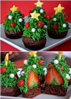 Christmas tree cupcake with a strawberry inside.