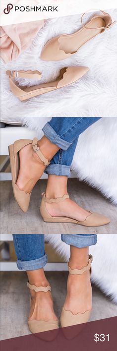 """Classic scalloped close toe buckle comfy flats CLASSIC AND CLASSY  Meet your perfect pair! These super cute and feminine flats are the perfect shoe to pair with any outfit! Featuring a fun scalloped closed toe and buckle closure ankle strap, these comfy flats are ready for all of your Spring and Summer adventures!  Color: Natural 1"""" Wedge Heel Buckle Closure Ankle Fits True To Size Shoes Flats & Loafers"""