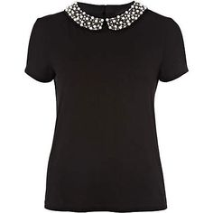 black pearl embroidered collar t-shirt - t-shirts - t shirts / vests / sweats - women - River Island