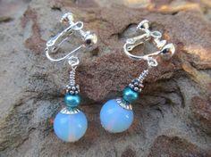 Wedding or Special Event. Opal Opalite & Freshwater Pearl Earrings in Clip-on or shepherds hook style by FayWestDesigns, $21.00
