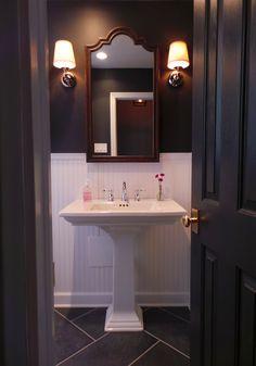 Medicine cabinet / Pedestal sink / Sconces / Beadboard wainscoting / Bathroom design {Apple a Day Beauty} @Kohler Co.