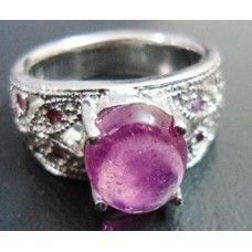 8.710Gms 925 Sterling Silver Ring With Natural Cabochon African Ruby