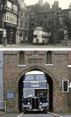 Vintage Trucks Bus specially designed to fit through the North Bar Gate of Beverley, East Yorkshire, UK. - More memes, funny videos and pics on East Yorkshire, Yorkshire England, England And Scotland, England Uk, Hull England, Northern England, Bugatti, Kingston Upon Hull, Double Decker Bus