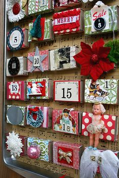 Advent Calendar.. from a cookie tin and match boxes | Lilia | fleamarketstudio | Flickr
