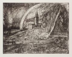 Artist; Leon Kossoff Title:Salisbury Cathedral from the Meadows (2) Date:1998 Medium;Etching on paperThis print is one of many etchings executed by Leon Kossoff in response to, and literally in the presence of, oil paintings by other artists; in this case Salisbury Cathedral from the Meadows, 1831, by John Constable.
