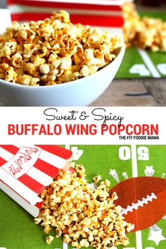 Satisfy your game day snack cravings with this crowd pleasing gluten free Sweet and Spicy Buffalo Wing Popcorn! Not only is it easy to make but it's healthy too!