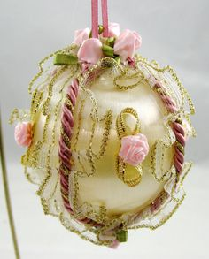 Champagne and Mauve Satin Ball Christmas Ornament by NoelBelles