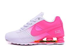 Nike Shox Deliver Chaussures de Basketball Officiel Pas Cher Pour Femme Blanc / Rose
