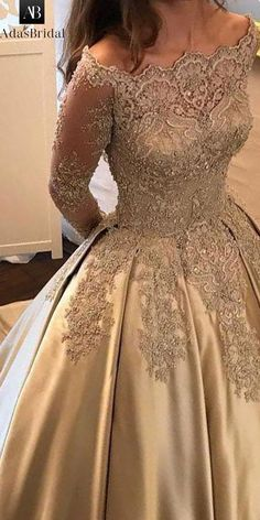 Satin Wedding Dresses Wonderful Satin Off-the-shoulder Neckline Ball Gown Evening Dress With Beaded Lace Appliques Prom Dresses Long With Sleeves, Mob Dresses, Grad Dresses, Bridal Dresses, Fashion Dresses, Formal Dresses, Indian Dresses, Ball Gowns Evening, Evening Dresses